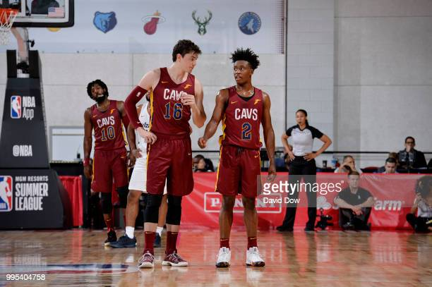 Cedi Osman and Collin Sexton of the Cleveland Cavaliers looks on against the the Washington Wizards during the 2018 Las Vegas Summer League on July 6...