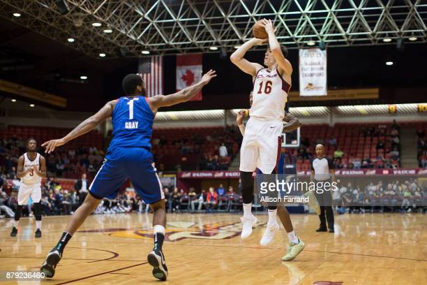 Cedi Osman of the Canton Charge shoots the ball against the Long Island Nets on November 25 2017 at the Canton Memorial Civic Center in Canton Ohio...