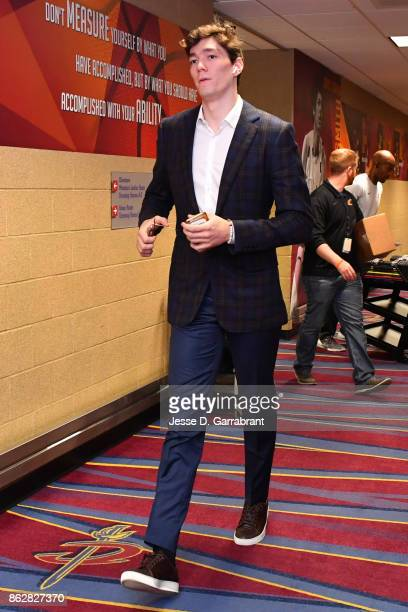 Cedi Osman of the Cleveland Cavaliers arrives at the arena before the game against Boston Celtics on October 17 2017 at Quicken Loans Arena in...