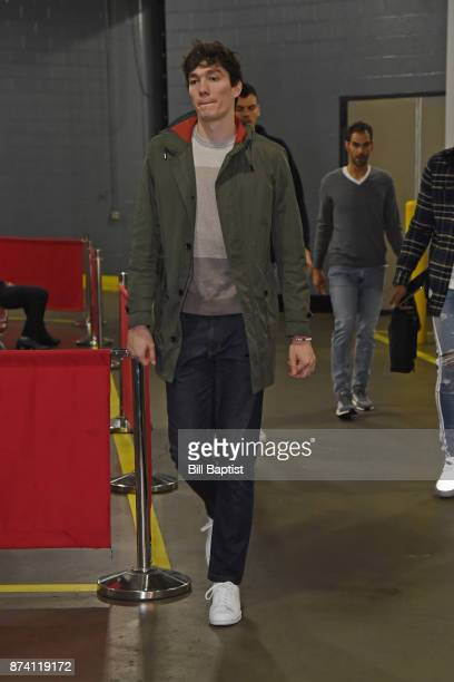 Cedi Osman of the Cleveland Cavaliers arrives at the arena before the game against the Houston Rockets on NOVEMBER 9 2017 at the Toyota Center in...