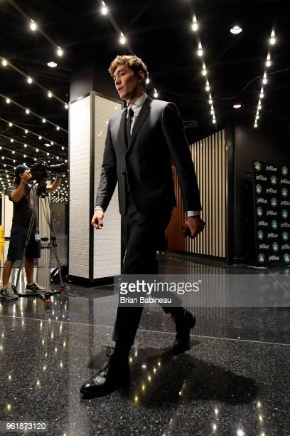 Cedi Osman of the Cleveland Cavaliers arrives to the arena prior to Game Five of the Eastern Conference Finals of the 2018 NBA Playoffs against the...