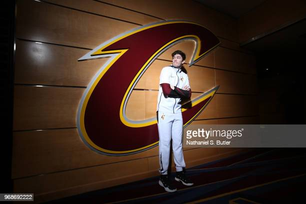 Cedi Osman of the Cleveland Cavaliers before the game against the Golden State Warriors in Game Three of the 2018 NBA Finals on June 6 2018 at...