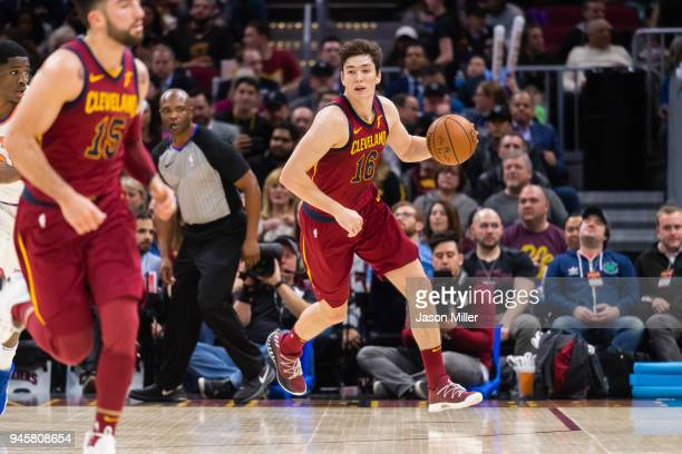 Cedi Osman of the Cleveland Cavaliers drives down the court during the second half against the New York Knicks at Quicken Loans Arena on April 11...