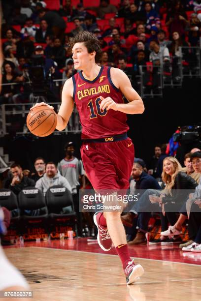 Cedi Osman of the Cleveland Cavaliers drives the ball down court against the Detroit Pistons on November 20 2017 at Little Caesars Arena in Detroit...