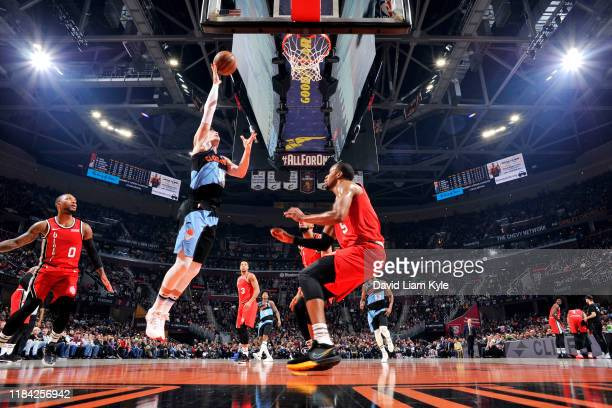 Cedi Osman of the Cleveland Cavaliers drives to the basket during a game against the Portland Trail Blazers on November 23 2019 at Quicken Loans...