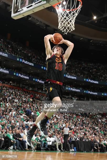 Cedi Osman of the Cleveland Cavaliers drives to the basket during the game against the Boston Celtics on February 11 2018 at TD Garden in Boston...