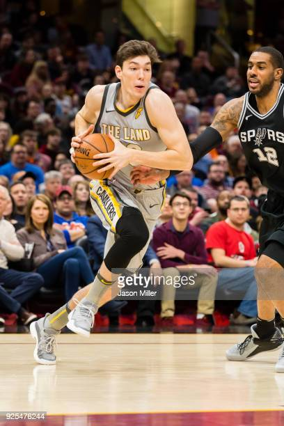 Cedi Osman of the Cleveland Cavaliers drives to the basket during the first half against the San Antonio Spurs at Quicken Loans Arena on February 25...