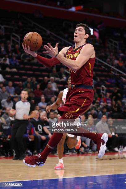 Cedi Osman of the Cleveland Cavaliers gets a first half shot off while playing the Detroit Pistons at Little Caesars Arena on October 25 2018 in...