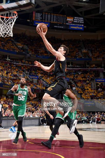Cedi Osman of the Cleveland Cavaliers goes to the basket against the Boston Celtics in Game Three of the Eastern Conference Finals during the 2018...