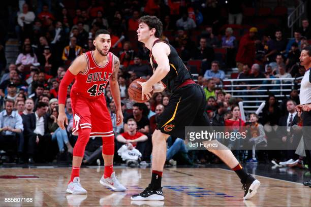 Cedi Osman of the Cleveland Cavaliers handles the ball against Denzel Valentine of the Chicago Bulls on December 4 2017 at the United Center in...