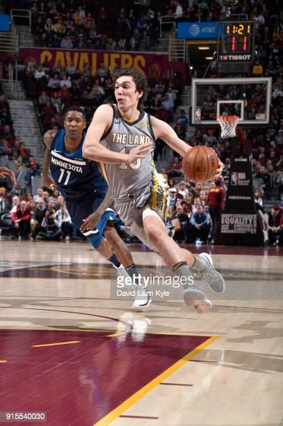 Cedi Osman of the Cleveland Cavaliers handles the ball against Jamal Crawford of the Minnesota Timberwolves on February 7 2018 at Quicken Loans Arena...