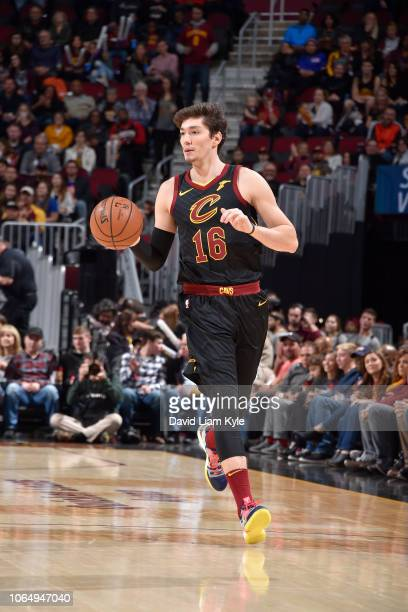 Cedi Osman of the Cleveland Cavaliers handles the ball against the Houston Rockets on November 24 2018 at Quicken Loans Arena in Cleveland Ohio NOTE...