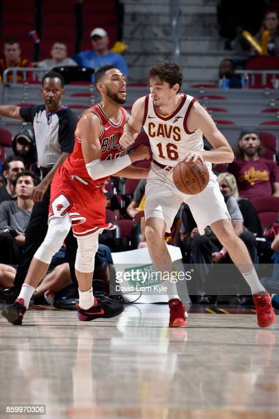 Cedi Osman of the Cleveland Cavaliers handles the ball against the Chicago Bulls on October 10 2017 at Quicken Loans Arena in Cleveland Ohio NOTE TO...