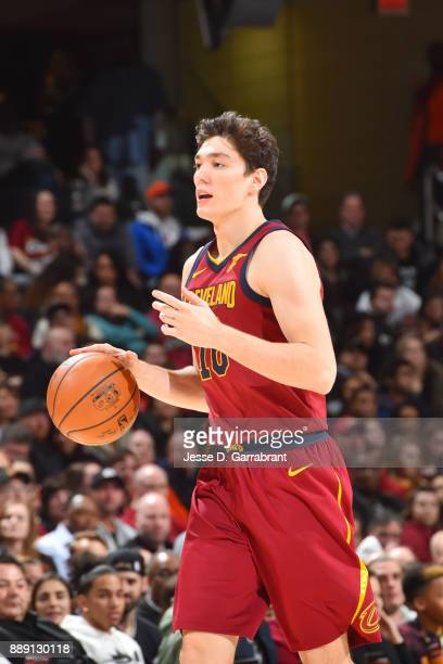 Cedi Osman of the Cleveland Cavaliers handles the ball against the Philadelphia 76ers on December 9 2017 at Quicken Loans Arena in Cleveland Ohio...