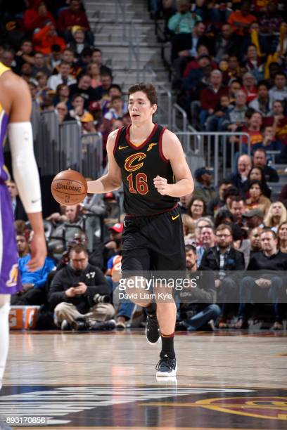 Cedi Osman of the Cleveland Cavaliers handles the ball against the Los Angeles Lakers on December 14 2017 at Quicken Loans Arena in Cleveland Ohio...