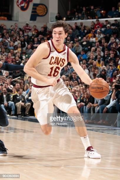 Cedi Osman of the Cleveland Cavaliers handles the ball against the Indiana Pacers on January 12 2018 at Bankers Life Fieldhouse in Indianapolis...