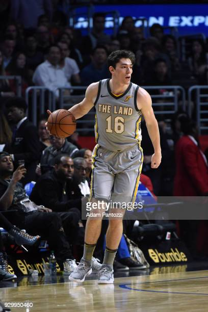 Cedi Osman of the Cleveland Cavaliers handles the ball against the LA Clippers on March 8 2018 at STAPLES Center in Los Angeles California NOTE TO...