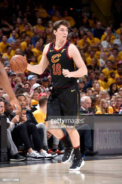 Cedi Osman of the Cleveland Cavaliers handles the ball against the Boston Celtics in Game Three of the Eastern Conference Finals during the 2018 NBA...