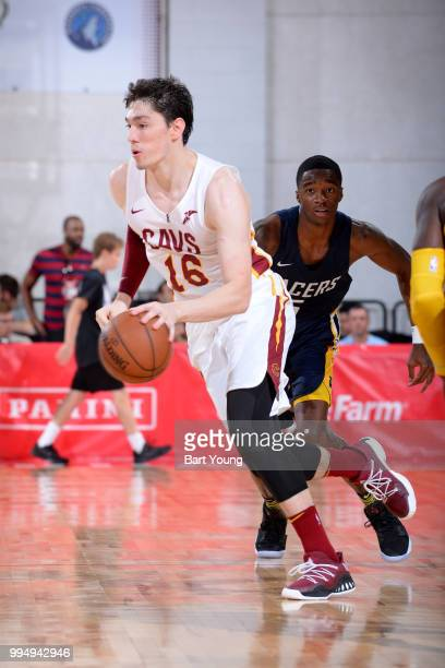 Cedi Osman of the Cleveland Cavaliers handles the ball against the Indiana Pacers during the 2018 Las Vegas Summer League on July 9 2018 at the Cox...