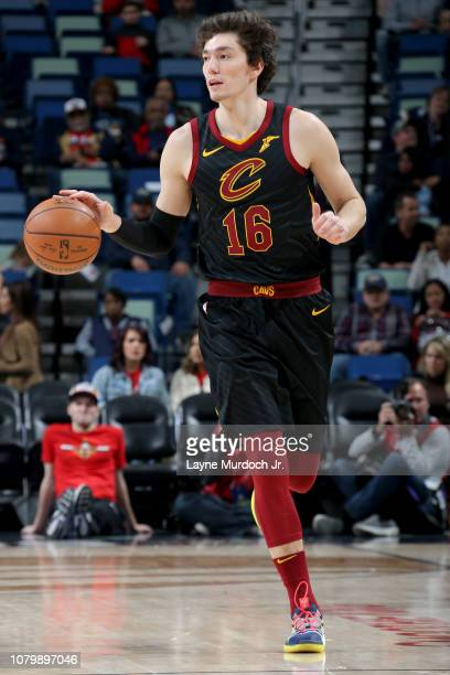 Cedi Osman of the Cleveland Cavaliers handles the ball during the game against the New Orleans Pelicans on January 9 2019 at the Smoothie King Center...