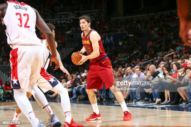 Cedi Osman of the Cleveland Cavaliers handles the ball during the preseason game against the Washington Wizards on October 8 2017 at Capital One...