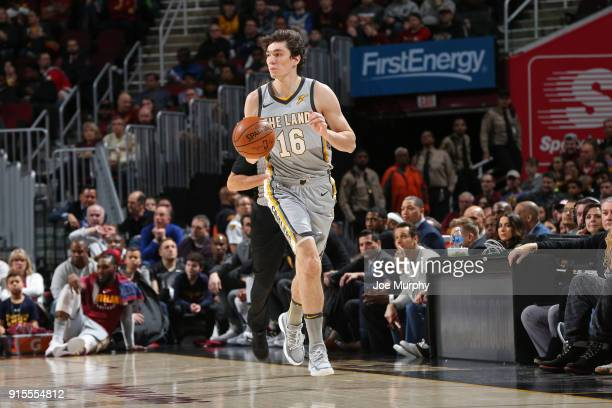 Cedi Osman of the Cleveland Cavaliers handles the ball during the game against the Houston Rockets on February 3 2018 at Quicken Loans Arena in...