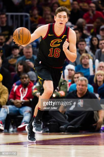 Cedi Osman of the Cleveland Cavaliers moves the ball down court during the second half against the Washington Wizards at Quicken Loans Arena on...
