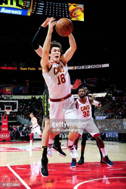 Cedi Osman of the Cleveland Cavaliers rebounds the ball during the game against the Atlanta Hawks on February 9 2018 at Philips Arena in Atlanta...