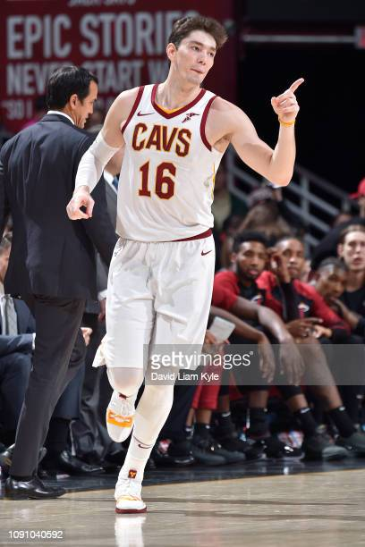 Cedi Osman of the Cleveland Cavaliers sets up the offense during the game against the Miami Heat on January 25 2019 at Quicken Loans Arena in...