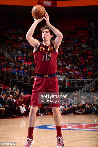 Cedi Osman of the Cleveland Cavaliers shoots a foul shot against the Detroit Pistons on November 20 2017 at Little Caesars Arena in Detroit Michigan...