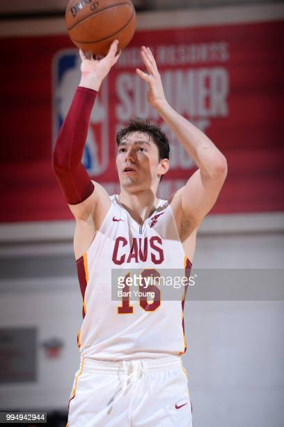 Cedi Osman of the Cleveland Cavaliers shoots a free throw against the Indiana Pacers during the 2018 Las Vegas Summer League on July 9 2018 at the...