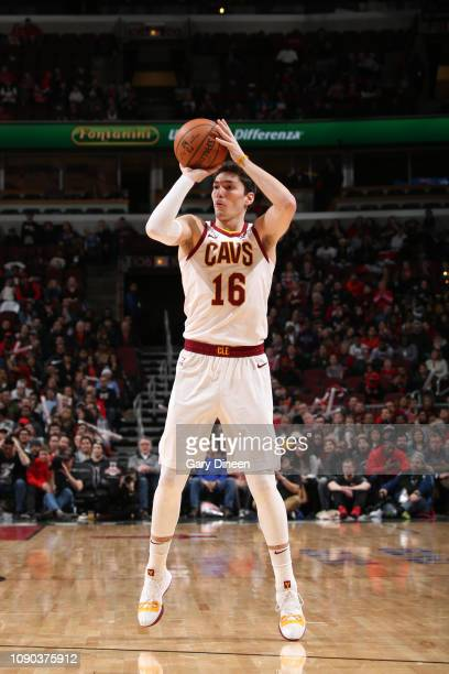 Cedi Osman of the Cleveland Cavaliers shoots a threepointer against the Chicago Bulls on January 27 2019 at the United Center in Chicago Illinois...