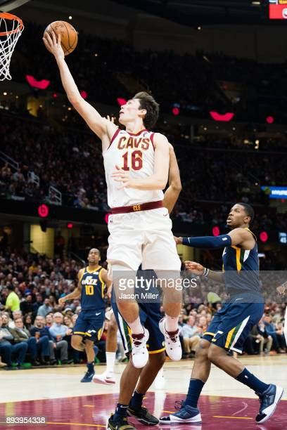 Cedi Osman of the Cleveland Cavaliers shoots during the first half against the Utah Jazz at Quicken Loans Arena on December 16 2017 in Cleveland Ohio...