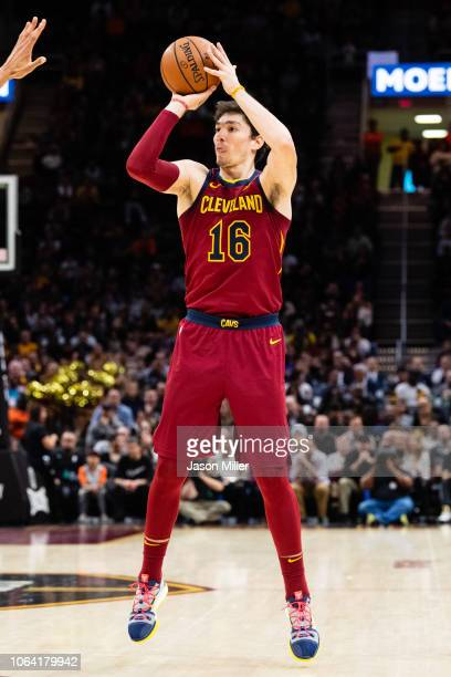 Cedi Osman of the Cleveland Cavaliers shoots during the second half against the Los Angeles Lakers at Quicken Loans Arena on November 21 2018 in...