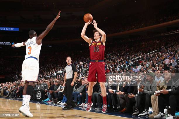Cedi Osman of the Cleveland Cavaliers shoots the ball against the New York Knicks on November 13 2017 at Madison Square Garden in New York City New...