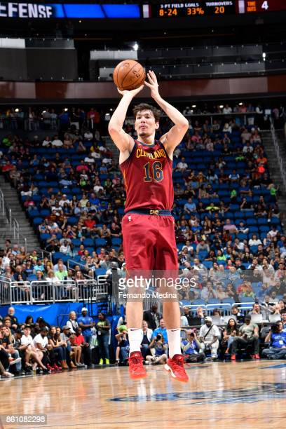 Cedi Osman of the Cleveland Cavaliers shoots the ball against the Orlando Magic during the preseason game on October 13 2017 at Amway Center in...