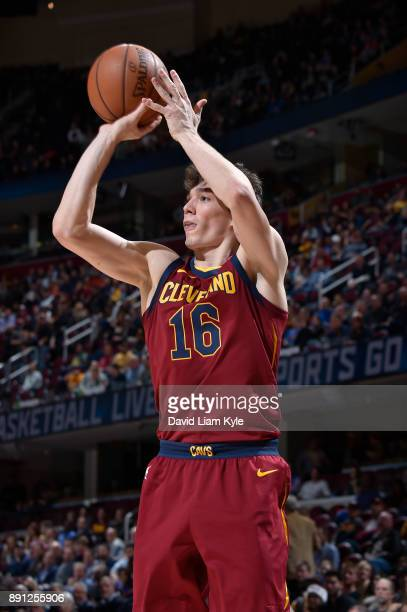 Cedi Osman of the Cleveland Cavaliers shoots the ball against the Atlanta Hawks on December 12 2017 at Quicken Loans Arena in Cleveland Ohio NOTE TO...