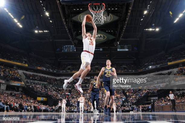 Cedi Osman of the Cleveland Cavaliers shoots the ball against the Indiana Pacers on January 12 2018 at Bankers Life Fieldhouse in Indianapolis...