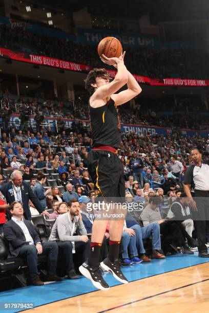 Cedi Osman of the Cleveland Cavaliers shoots the ball against the Oklahoma City Thunder on February 13 2018 at Chesapeake Energy Arena in Oklahoma...