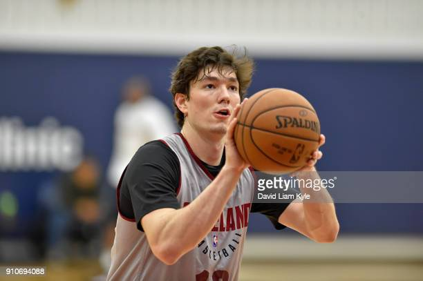 Cedi Osman of the Cleveland Cavaliers shoots the ball during an allaccess practice at The Cleveland Clinic Courts on January 25 2018 in Independence...