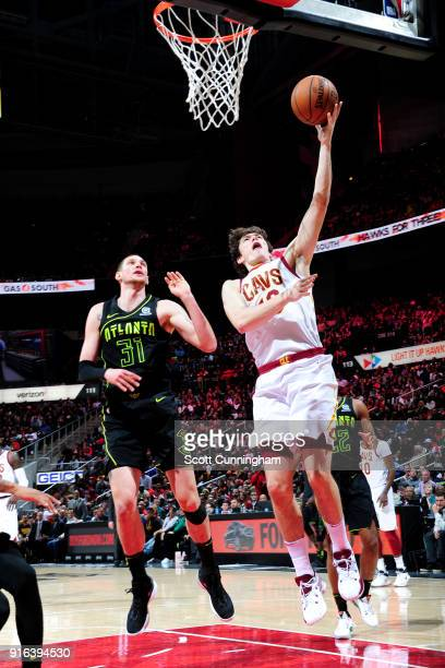 Cedi Osman of the Cleveland Cavaliers shoots the ball during the game against the Atlanta Hawks on February 9 2018 at Philips Arena in Atlanta...