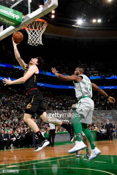 Cedi Osman of the Cleveland Cavaliers shoots the ball during the game against the Boston Celtics on February 11 2018 at the TD Garden in Boston...
