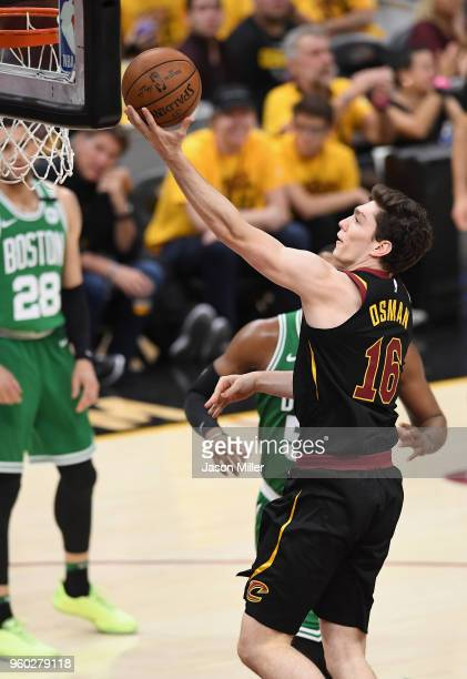 Cedi Osman of the Cleveland Cavaliers shoots the ball in the second half against the Boston Celtics during Game Three of the 2018 NBA Eastern...