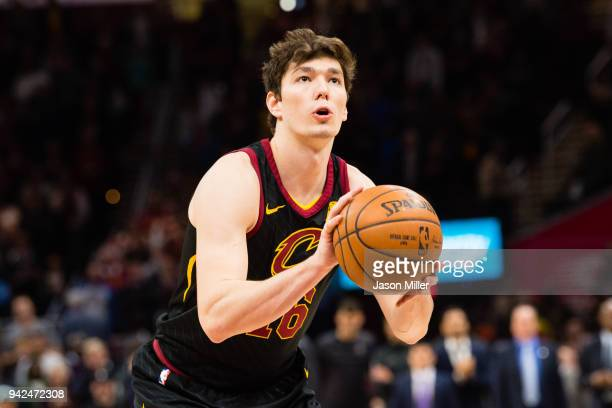 Cedi Osman of the Cleveland Cavaliers shoots the game clinching freethrow in the final seconds of the fourth quarter against the Washington Wizards...