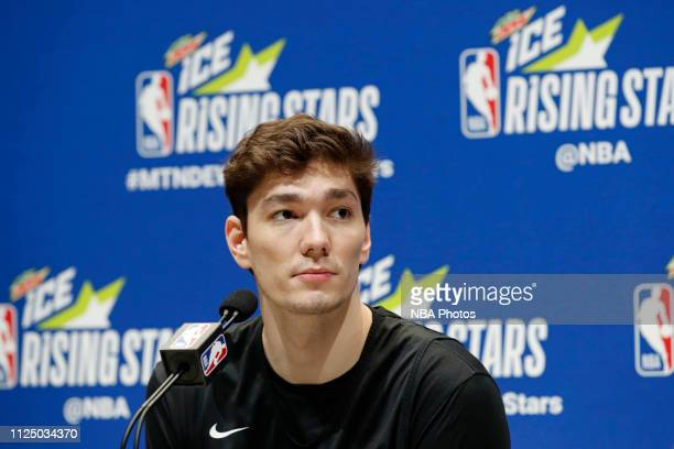 Cedi Osman of the Cleveland Cavaliers talks to the media during the 2019 NBA AllStar Rising Stars Practice and Media Availability on February 15 2019...
