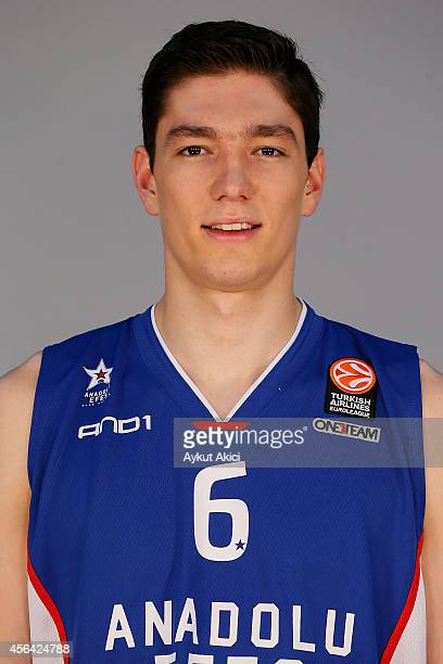 Cedi Osman poses during the Anadolu Efes 2014/2015 Turkish Airlines Euroleague Basketball Media Day at Abdi Ipekci Arena on September 28 2014 in...