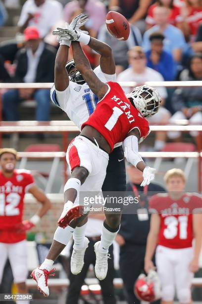 Cedric Asseh of the Miami Ohio Redhawks breaks up a pass intended for Antonio Nunn of the Buffalo Bulls during the first half at Yager Stadium on...
