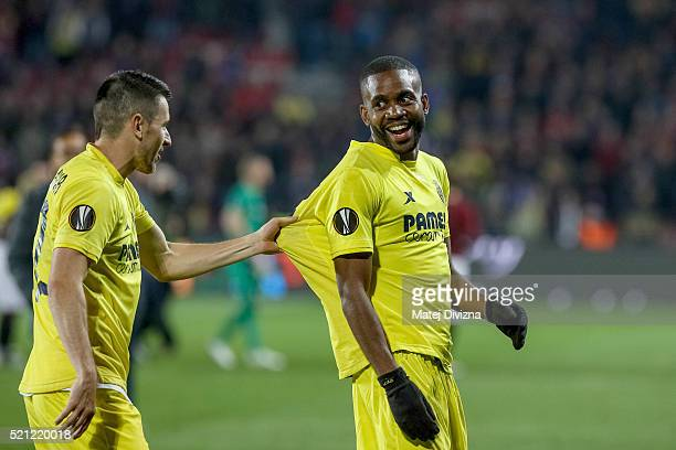 Cedric Bakambu and Antonio Rukavina of Villareal celebrate team's victory after the UEFA Europa League Quarter Final second leg match between Sparta...