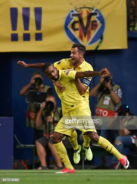 Cedric Bakambu and Mario Gaspar of Villarreal celebrate after scoring a goal during the UEFA Europa League group A match between Villarreal CF and FK...