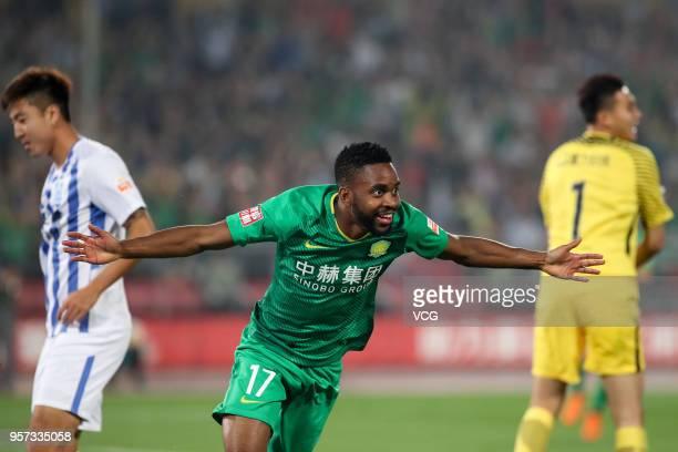 Cedric Bakambu of Beijing Guoan celebrates after scoring a goal during 2018 China Super League match between Beijing Guoan and Guangzhou RF at...